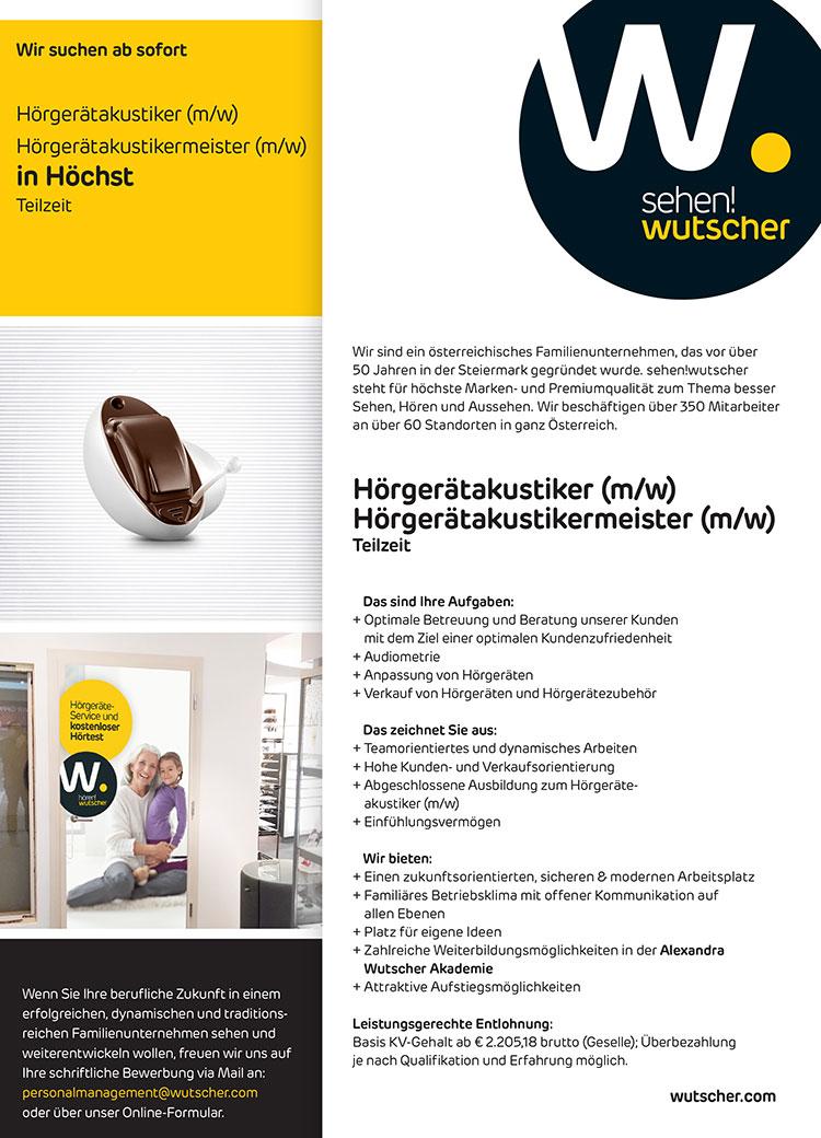 20191109 Stelleninserat Wutscher Hoechst